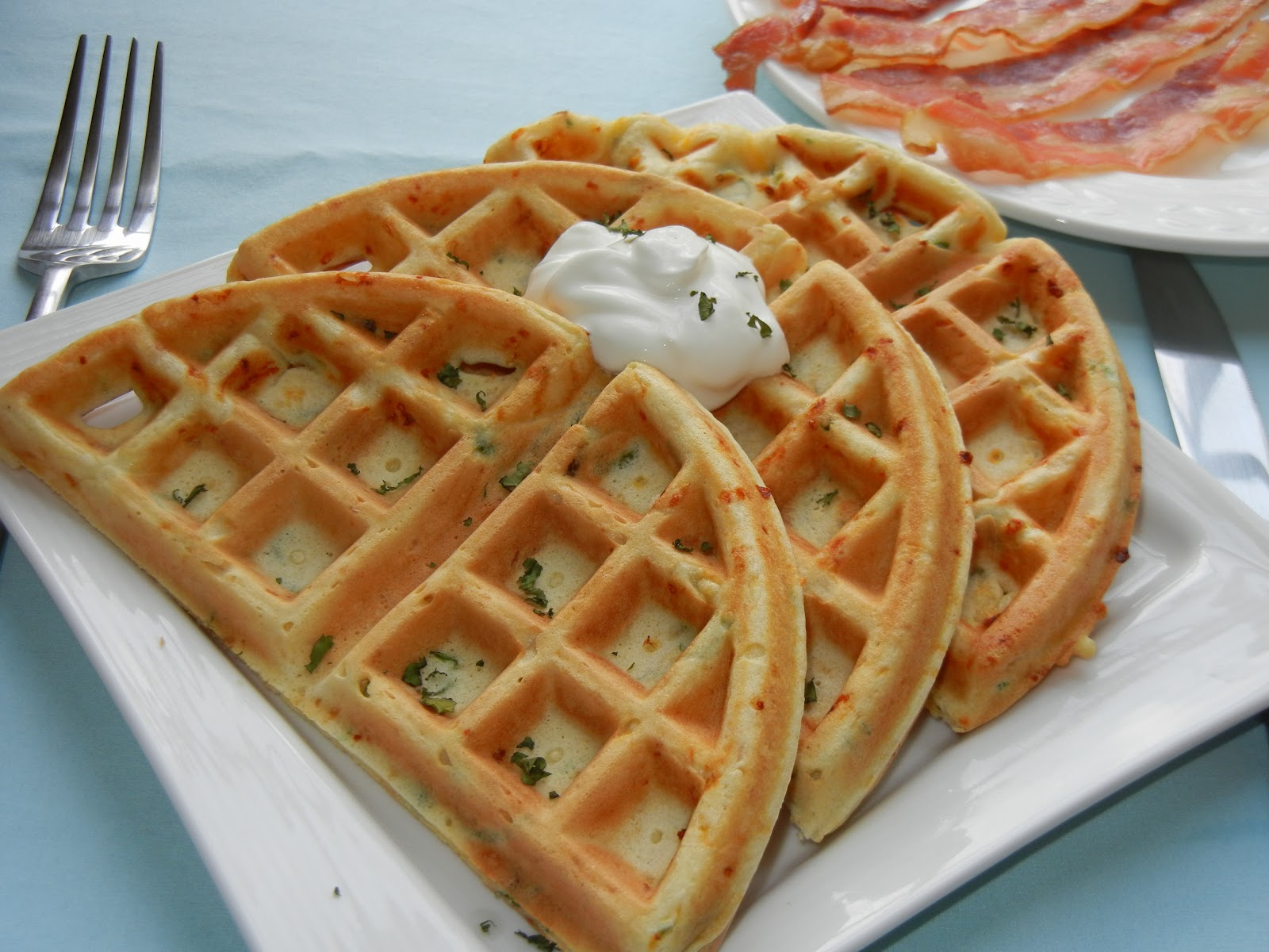 Smoked Cheese and Green Onion Waffles - Will Cook For Smiles