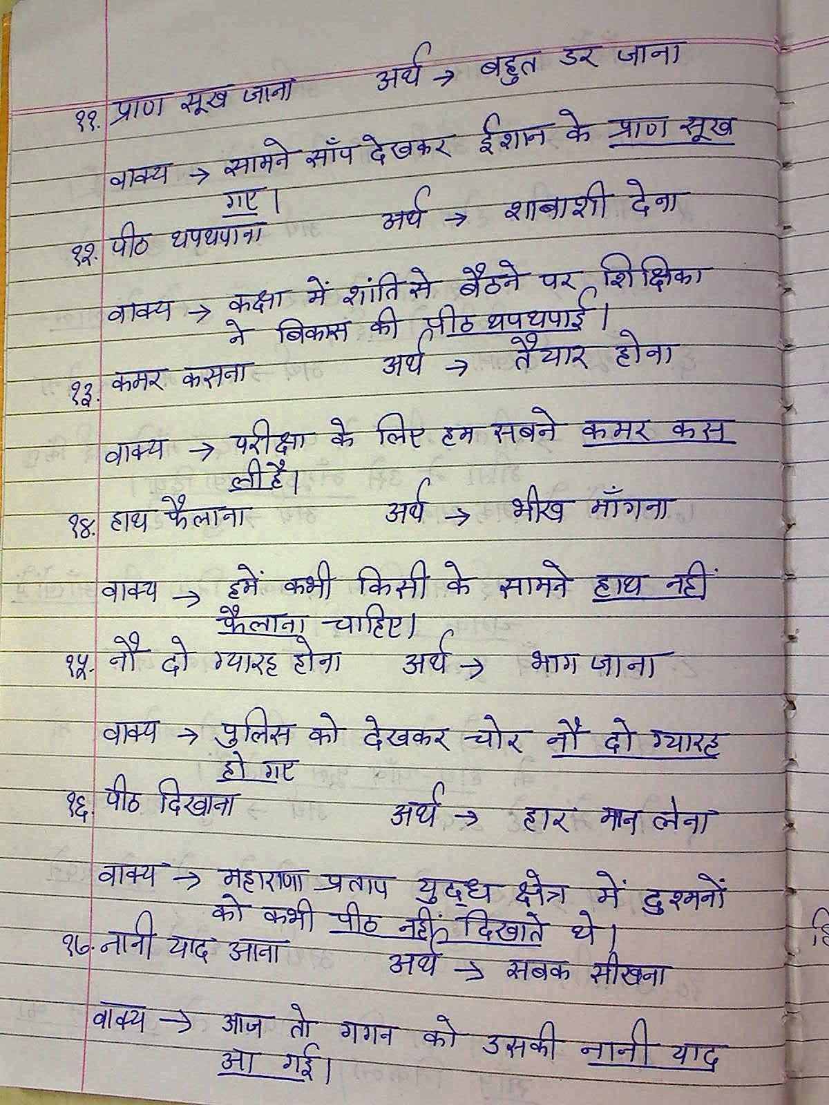 STARS OF PIS AHMEDABAD STD III: Hindi notes Muhavare