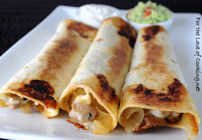 Pork Tenderloin, Caramelized Onion, and Monterey Jack Baked Flautas
