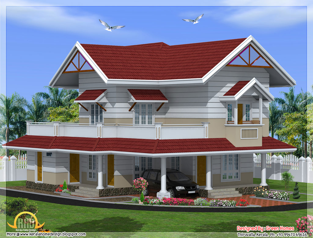 2100 Sq Feet 3 Bedroom Kerala Style House Kerala Home: 3 bedroom kerala house plans
