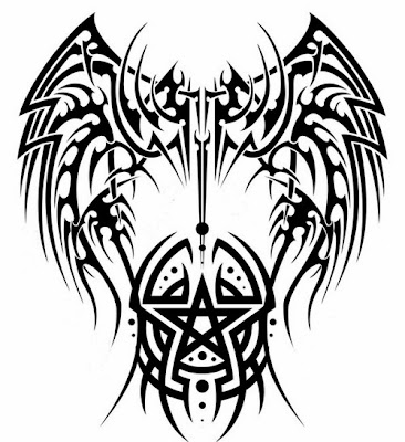 Satan tribal wings tattoo stencil