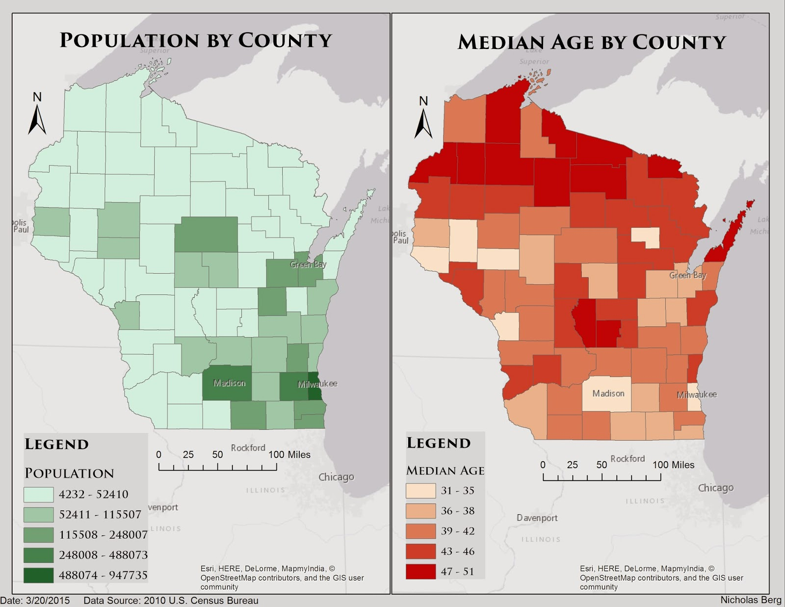 figure 2 1 the map on the left presents the population of each county while the right map shows the median age by county