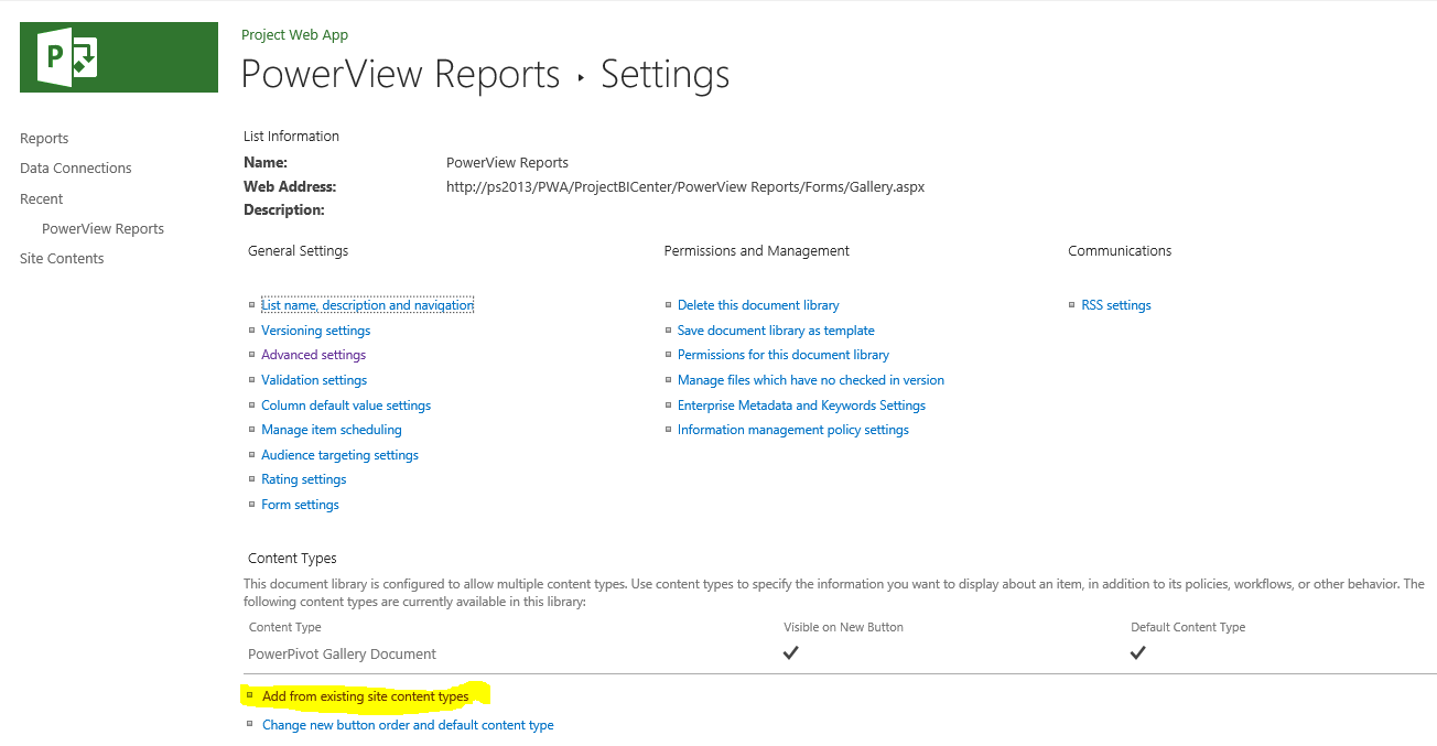 how to configure reporting services for project server