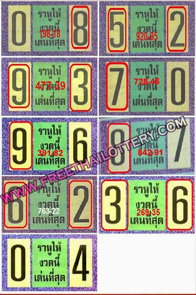 THAI LOTTERY FREE BEST TOUCH TIP PAPER 01-10-2014