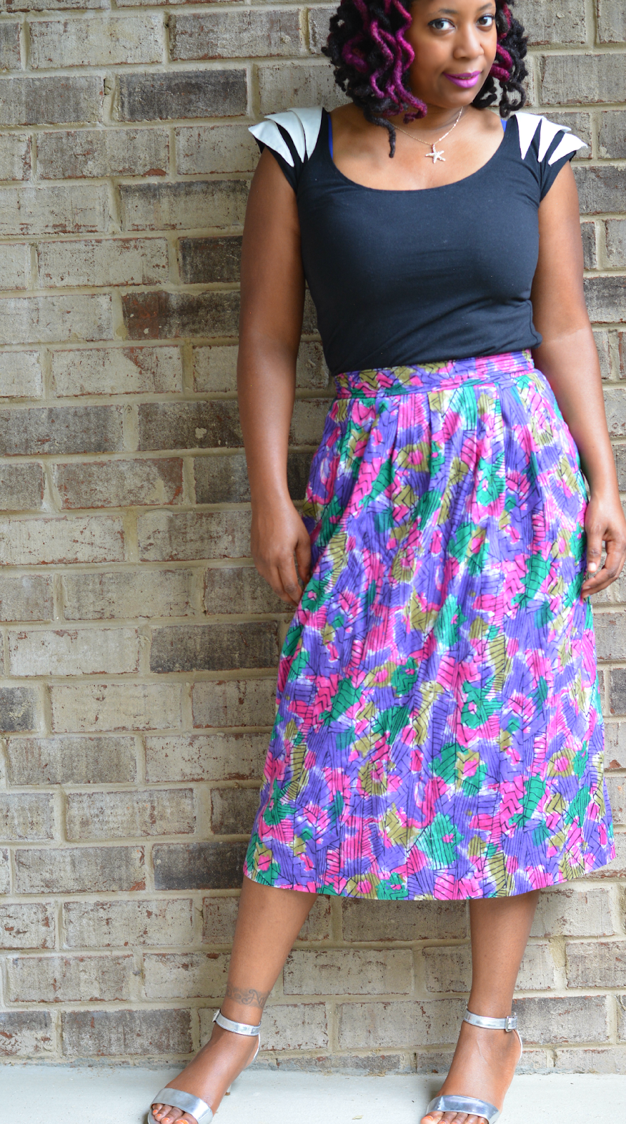 Casual summer skirt from a thrift store. Easy to wear and affordable in many bright, fun colors for summer.