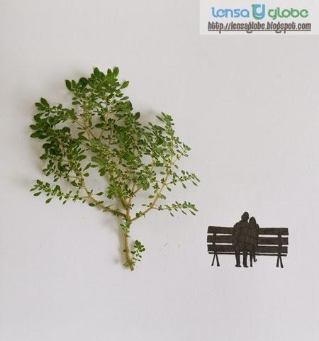 karya seni dari daun