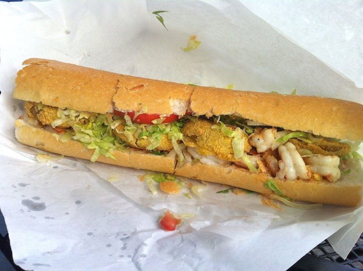 ... shrimp and fried green tomato remoulade po'boy comes from Mahoney's