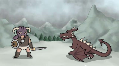 dovahkiin vs dragon cartoon