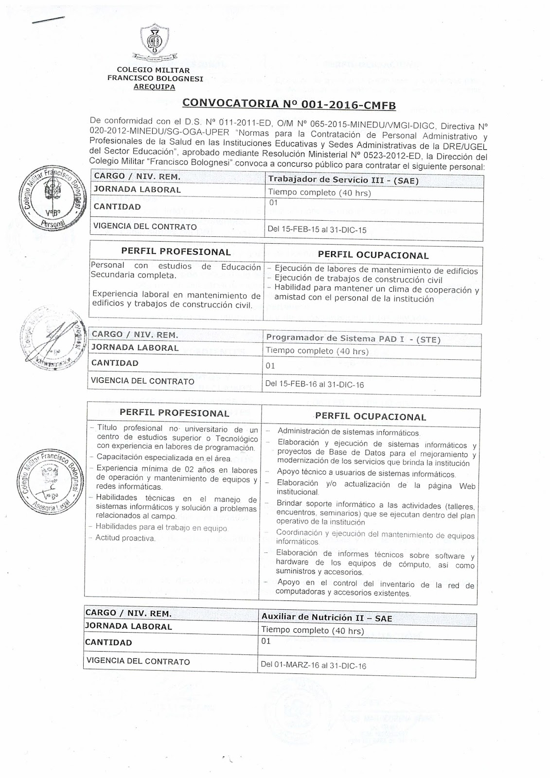 Convocatoria n 001 2016 cmfb noticias m s importantes for Convocatoria concurso docente 2016