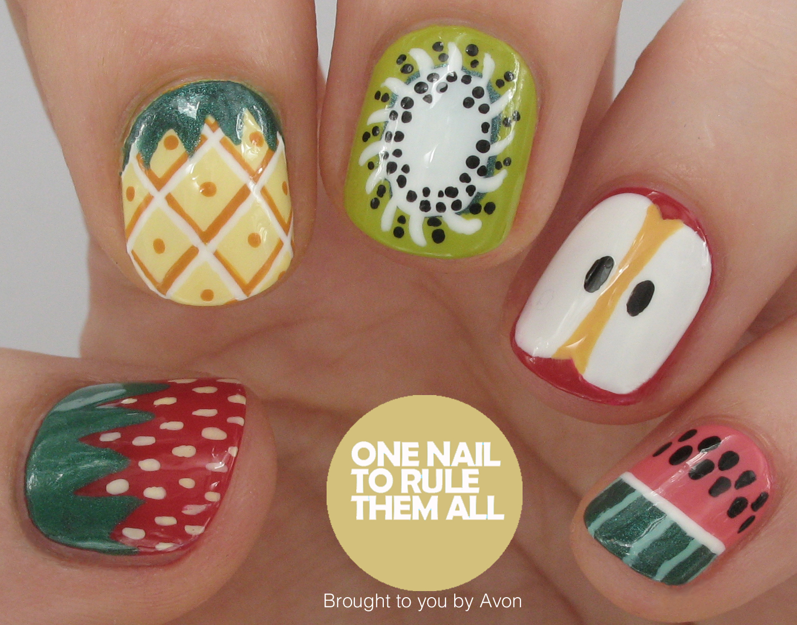 One nail to rule them all fruit nail art for avon i used a lot of colours for this design if youd to know a specific colour just ask if not theyre all here on the avon website prinsesfo Image collections