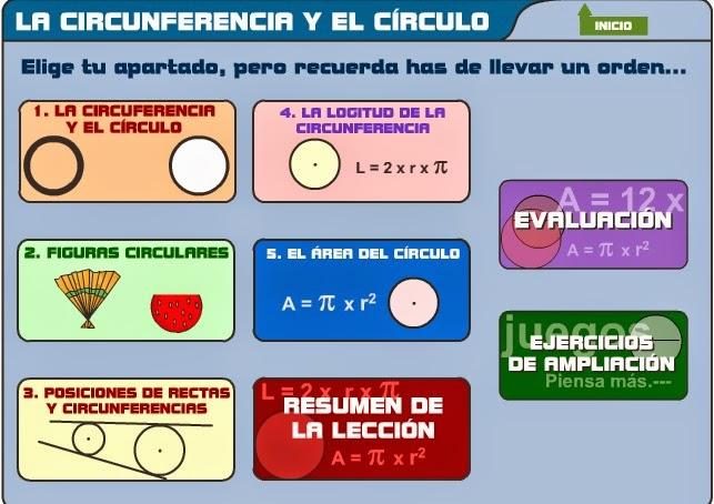 http://www.educa.madrid.org/web/cp.beatrizgalindo.alcala/archivos/circuloycircunferencia/menu.html