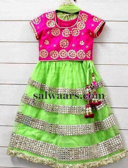 Light Green Pink Lace Lehenga