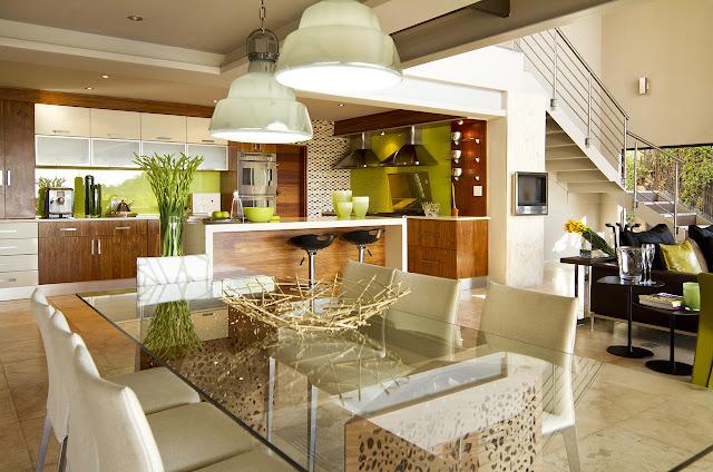 Modern bright dining room of the modern villa