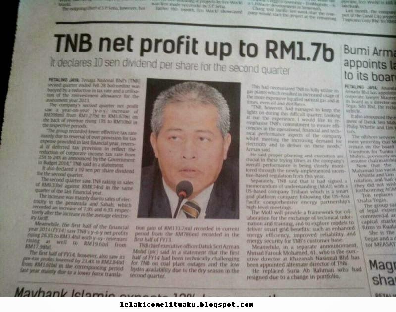Tarif elektrik terpaksa dinaikkan bagi melindungi TNB daripada kerugian. TNB untung RM 1.7 billion Besar tue.