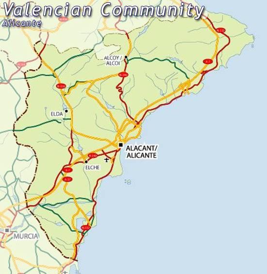 Alicante Carte de la ville - Carte Espagne Ville Région ...