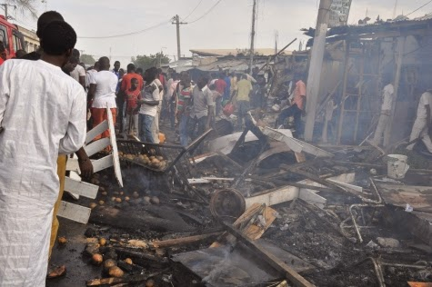 Photos: Scene of today's bomb blast in Maiduguri market