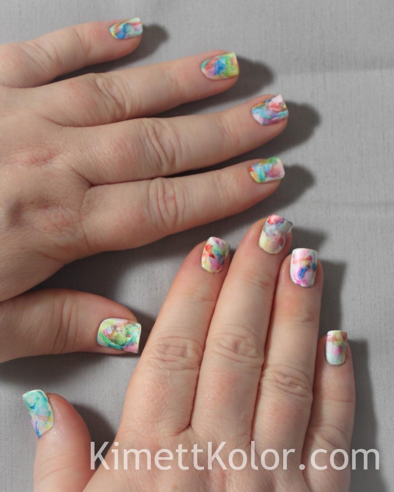 Abstract Watercolor Painting - On My Nails! | Kimett Kolor