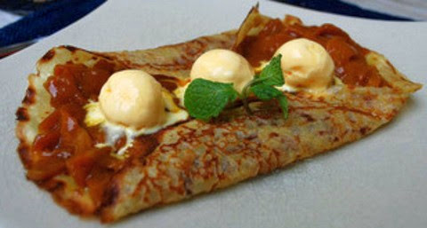 Mango and Coconut Crepes with Vanilla Ice Cream