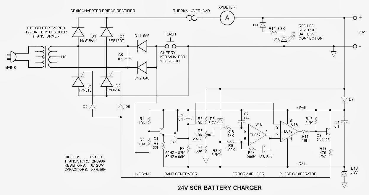 Circuit Diagram Of Battery Charger Using Scr Trusted Wiring Simpleautomaticbatterychargercircuit Electronics Application October 2013 Car