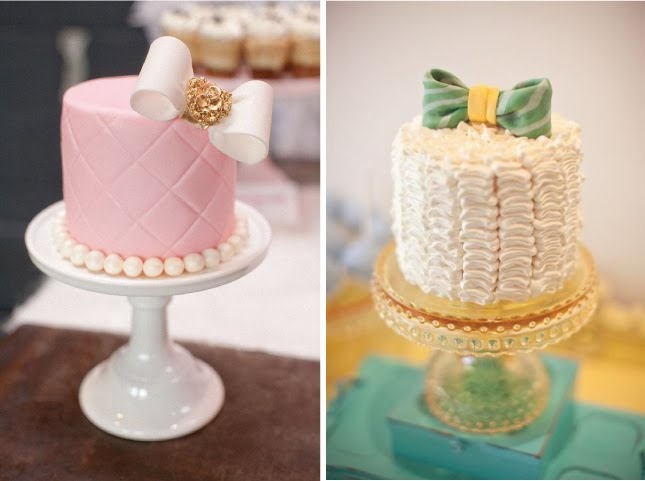 Fondant or buttercream with ruffles cakes and minicakes with bows are