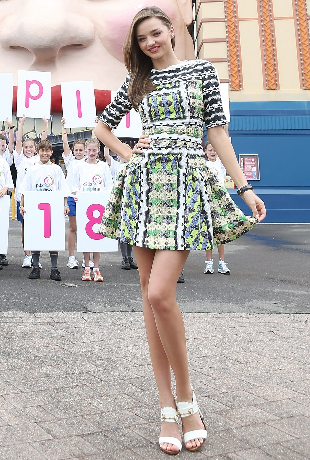Miranda Kerr wears Peter Pilotto as she is unveiled to be the ambassador for Kids Helpline in Luna Park, Sydney