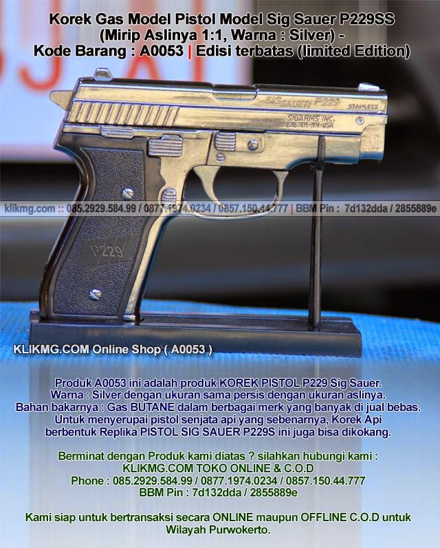 Korek Gas Model Pistol Model Sig Sauer P229SS (Mirip Aslinya 1:1, Warna : Silver) - Kode Barang : A0053 | Edisi terbatas (limited Edition)