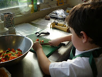 Chopping vegetables safely