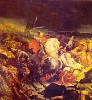 The Battle of Kulikovo by Adolphe Yvon, hangs in the Kremlin