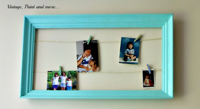 Vintage, Paint and more... photo display made from a frame and twine