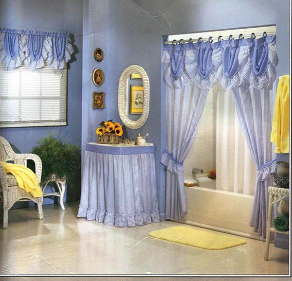Home Interior Design Ideas Using Bathroom Drapes For