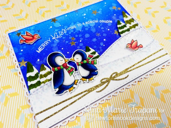 Kissing Penguin couple Christmas Card by Nina-Marie Trapani | Holiday Smooches Stamp set by Newton's Nook Designs #newtonsnook