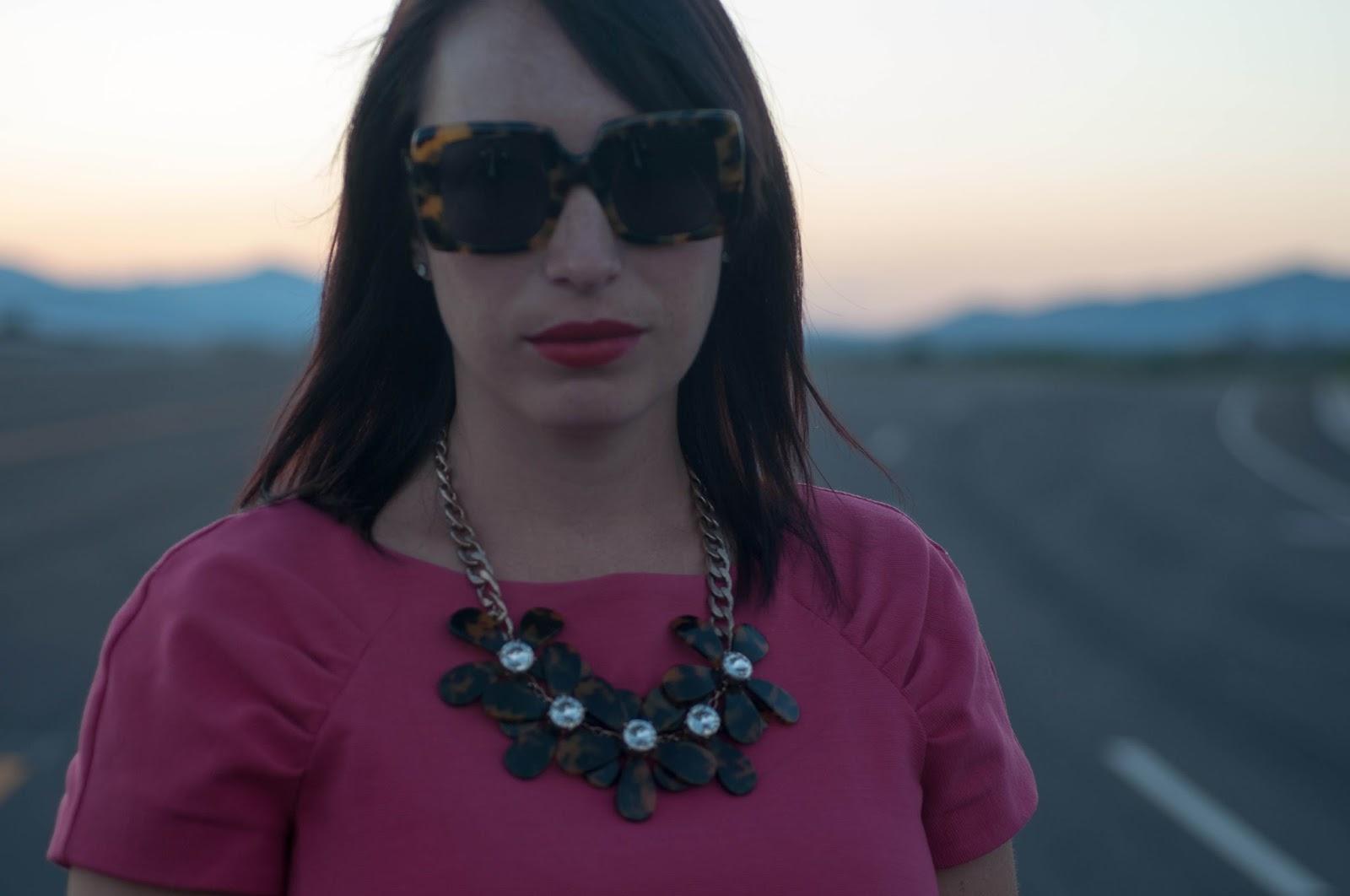 karen walker sunglasses, jcrew floral necklace, banana republic dress, hot pink dress, karen walker sunglasses, ootd, kelsey bang