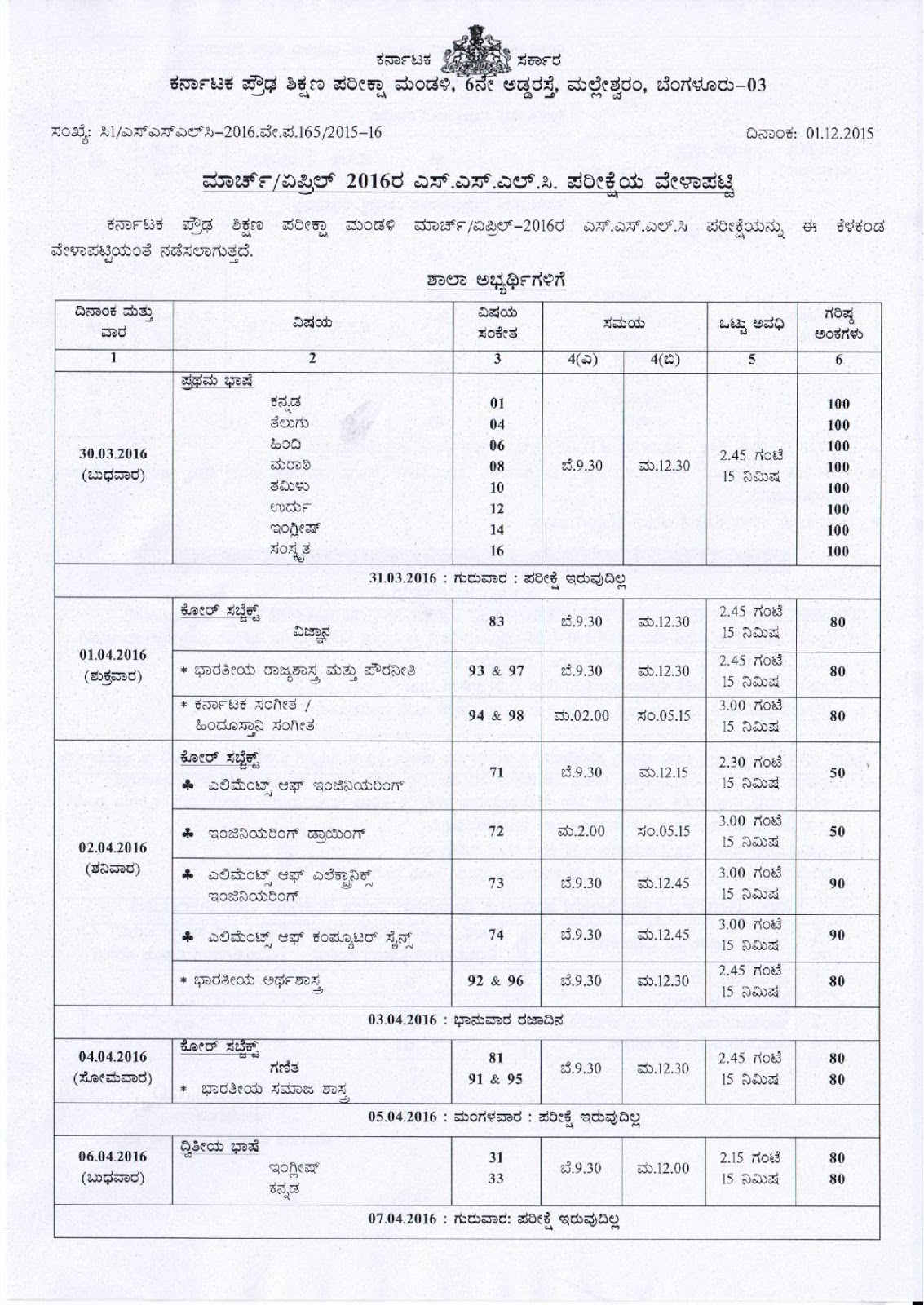 Karnataka sslc model question papers blue print 2015 16 karnataka board sslc time table 2016 marchapril malvernweather Images