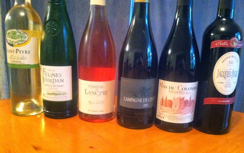 lineup of 6 wines sampled for #Languedoc day. Some great wine values!