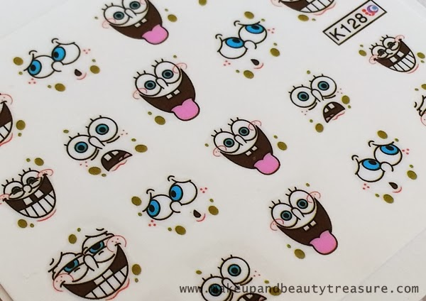 Born Pretty Store Sponge Bob Nail Art Water Decals