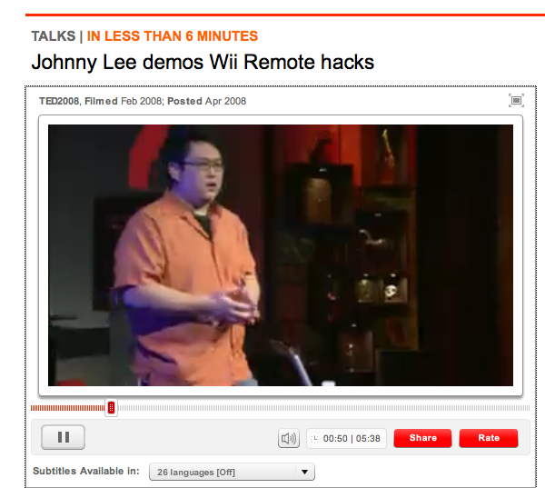 "johnny lee demos wii remote hacks ""johnny lee demos wii remote hacks"" this essay reflects on the presentation held by jonny lee which was broadcasted by ted-talk on april 2008."