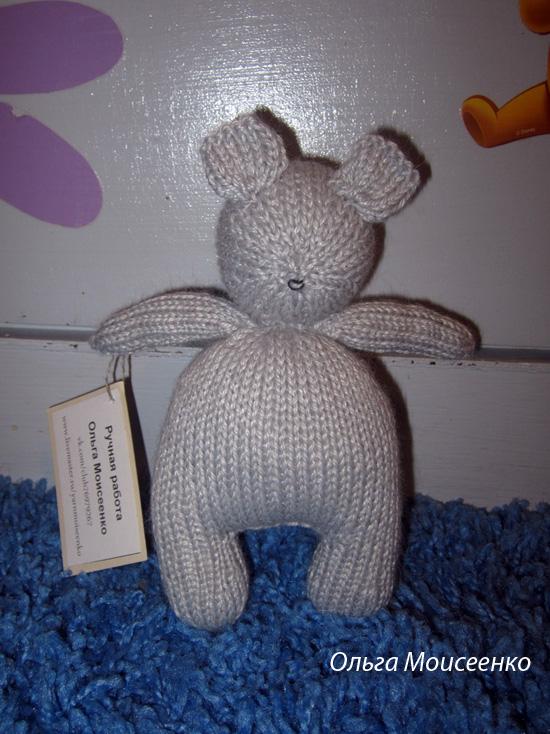 мышка спицами, игрушка, связанная спицами