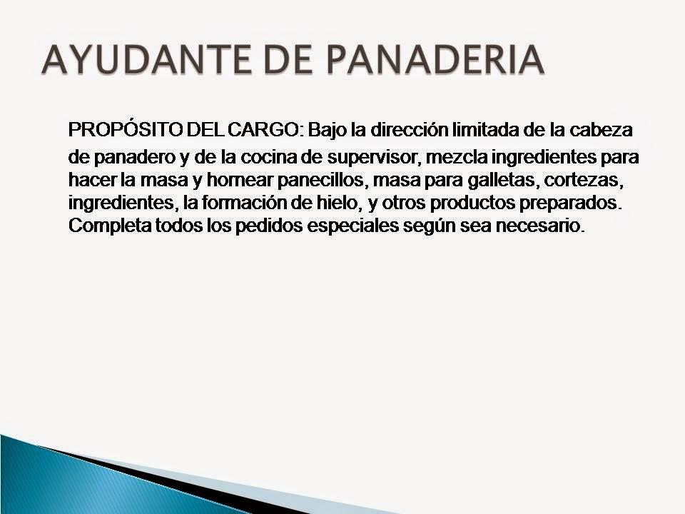 FUNCIONES Y RESPONSABILIDADES   PROYECTO PANADERIA
