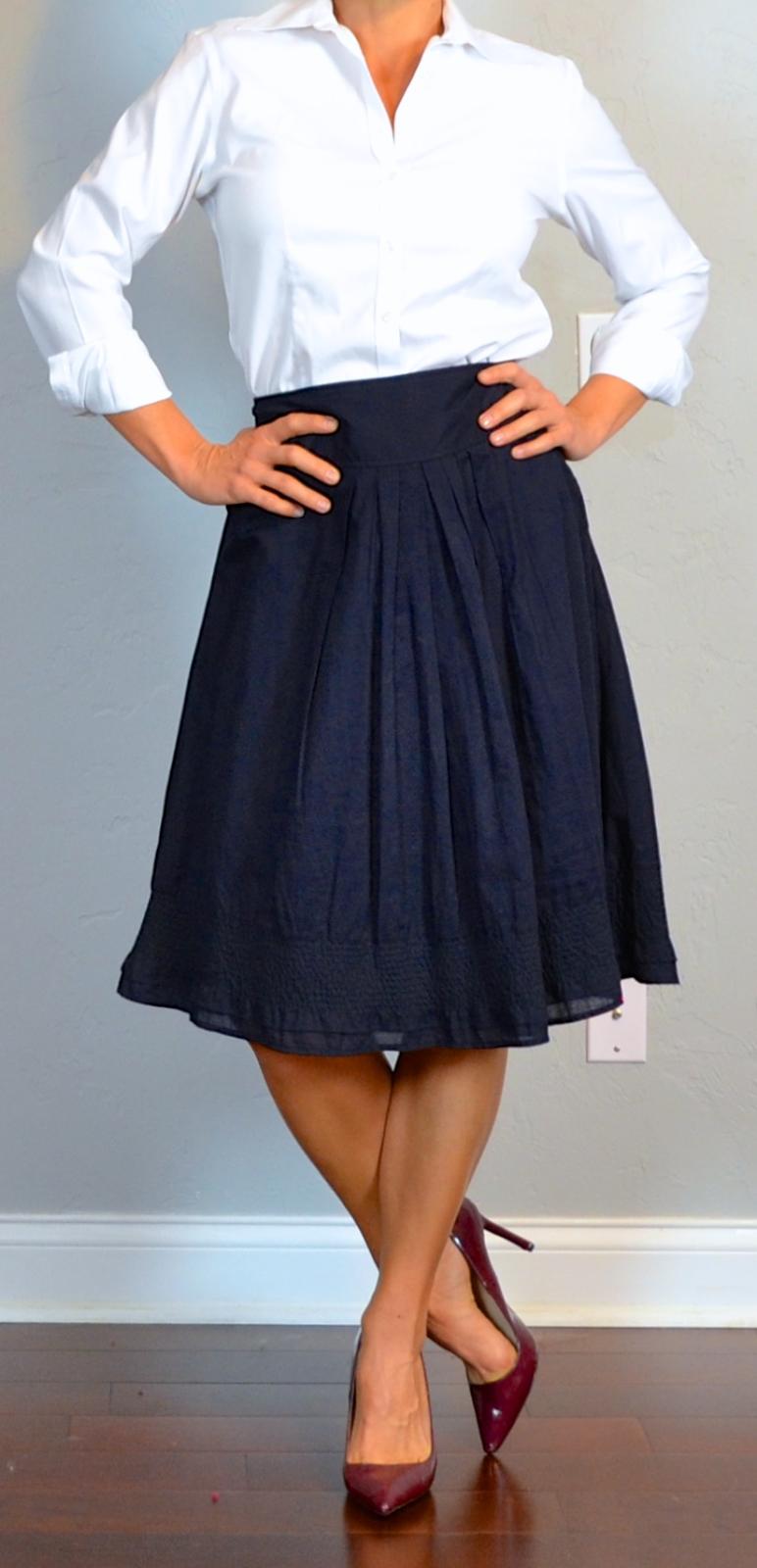 post navy a line midi skirt white button