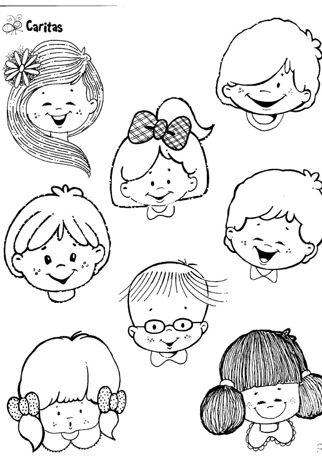 fichas infantiles caritas para colorear e imprimir