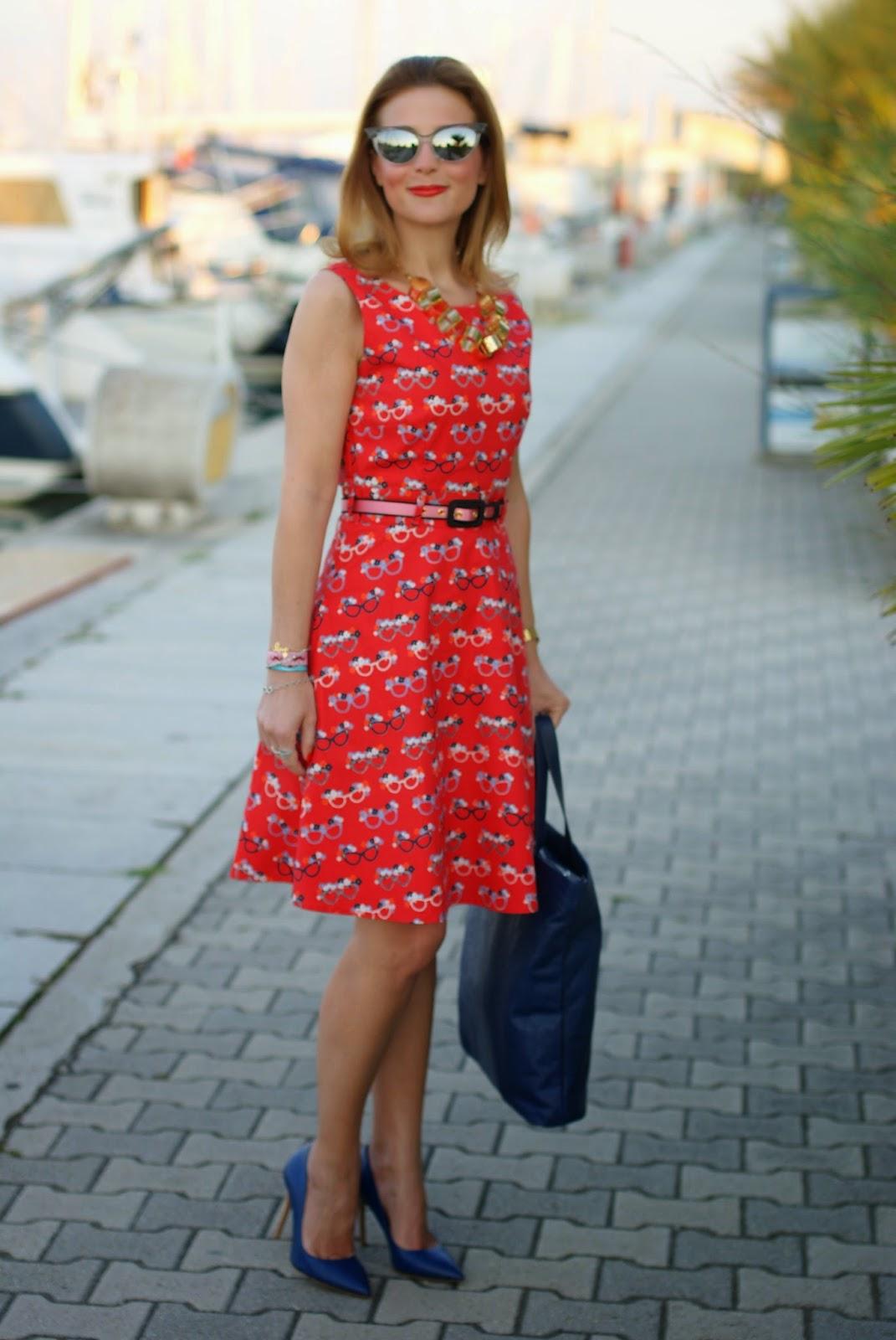 sergio levantesi heels, yumi glasses print dress, nava design bag, Fashion and Cookies, fashion blogger