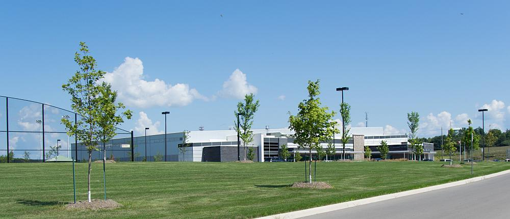 The West Orillia Sports complex showing the grounds and one of baseball areas.