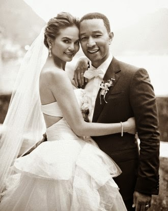 John Legend & Chrissy Teigen in Vera Wang Bridal