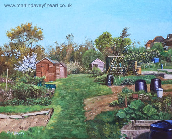 Sheds on allotments at Southampton – acrylic painting Martin Davey