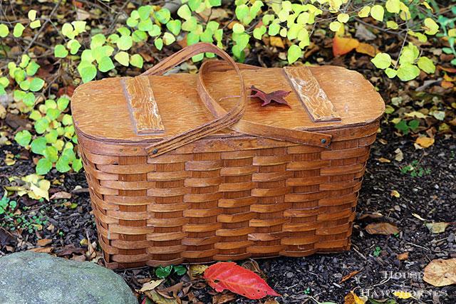 Vintage Redmon basket style picnic basket found at a thrift store