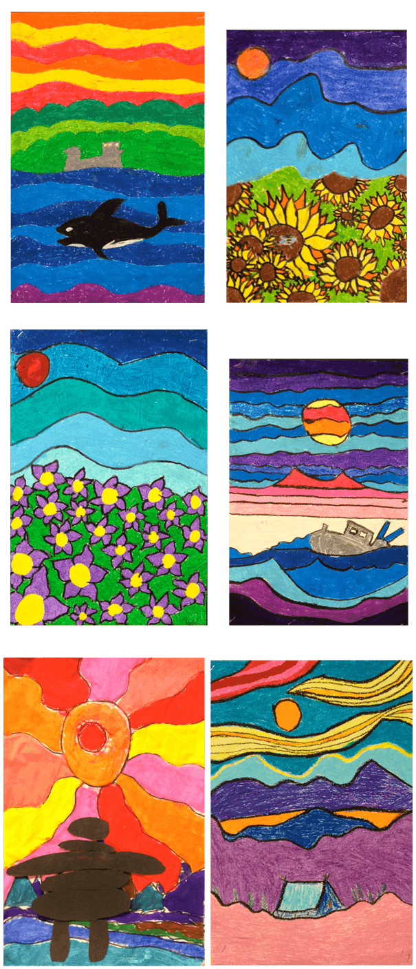 Ted Harrison style paintings by students at Lakewood Elementary