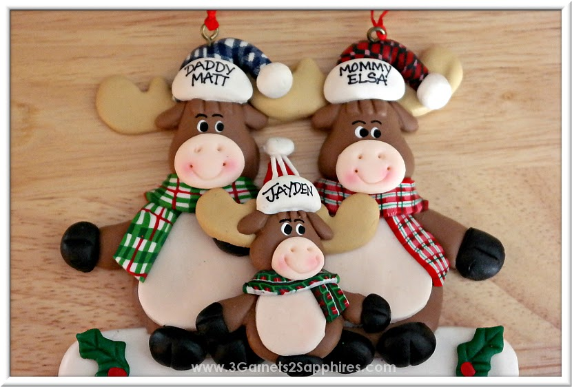 Cute Personalized Moose Family Tree Ornament from Ornaments With Love