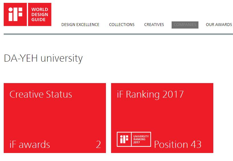 大葉大學榮登2017年 iF全球頂尖設計大學前50大排名榜!設藝學院學生 近八年囊括12座iF與紅點設計大獎,已達世界級實力