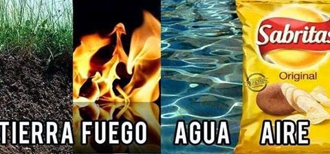 Tierra fuego agua aire papas fritas
