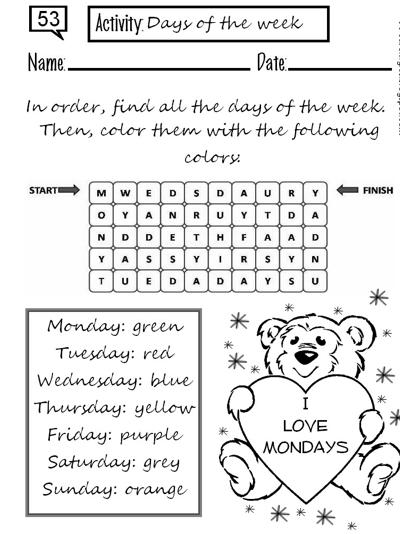 Coloreando letras: DAYS OF THE WEEK K2